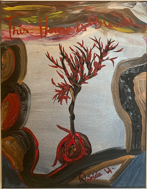 """This Home Is Blessed Original Painting Size 14""""H by 11""""W. Free Shipping-USA"""