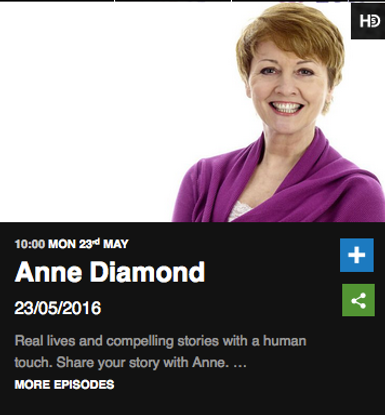 Anne Diamond Radio Show BBC Radio Berkshire 23rd May 2016
