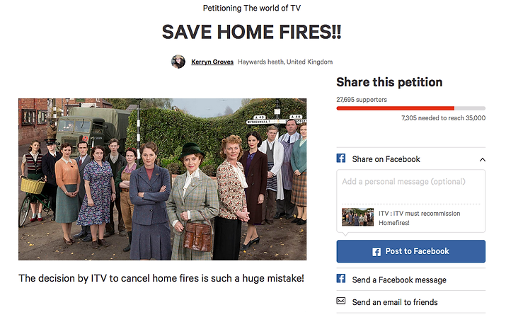 Save Home Fires Petition Screenshot