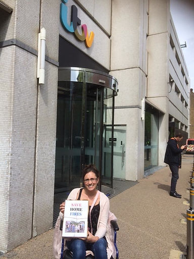 Save Home Fires petiotion being delivered to ITV by Kerryn Groves