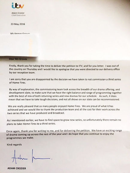 Letter from Adam Crozier to Kerryn Groves in response to Save Home Fires petition