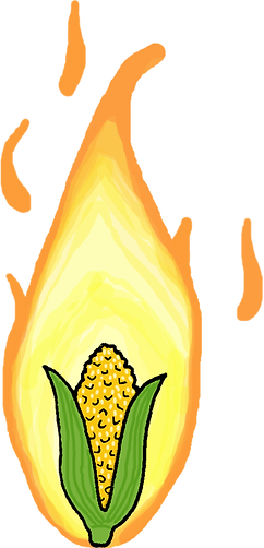 Save Home Fires Flaming Corn Illustration Copyright Jessica Taylor 2016