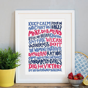 1940s theme typography print Copyright Jane Katherine Houghton Designs 2016