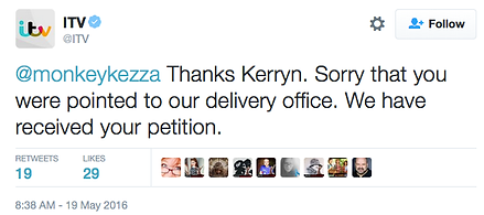 Tweet from ITV apologising to Kerryn Groves about when she delivered Save Home Fires petition