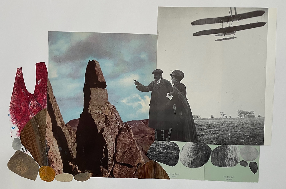 Man and woman in black and white looking at rocks with an old airplane behind them in the sky. Collage on paper.