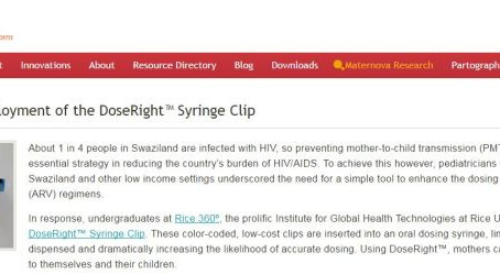 Clinton Health Access Initiative Deploys the DoseRight Syringe Clip throughout Swaziland