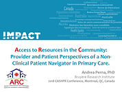 2018 CAHSPR -  Patient and Provider Asse