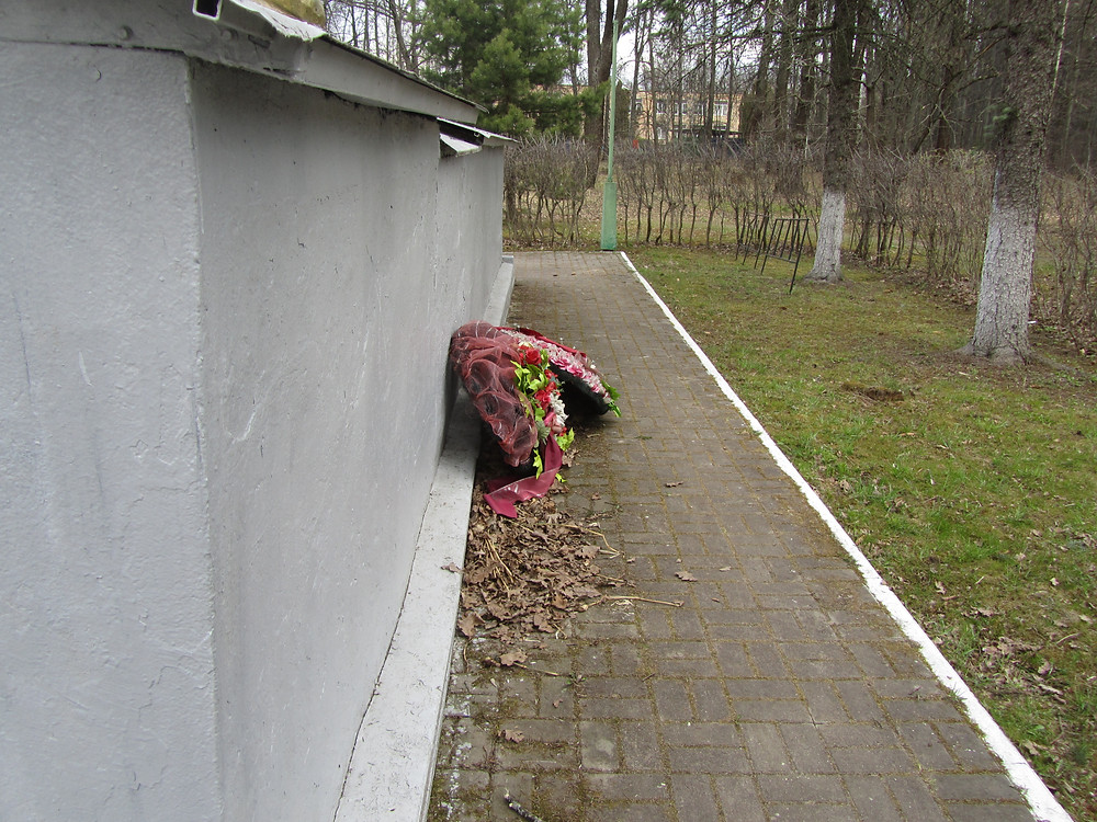 Старые венки брошены позади Братской Могилы