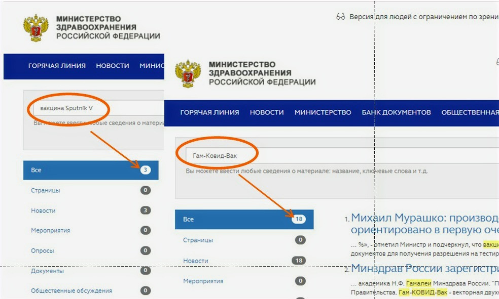Поиск информиции о вакцине Sputnik V на сайте Минздрава РФ даёт только новости. Результатов клинических испытаний нет!