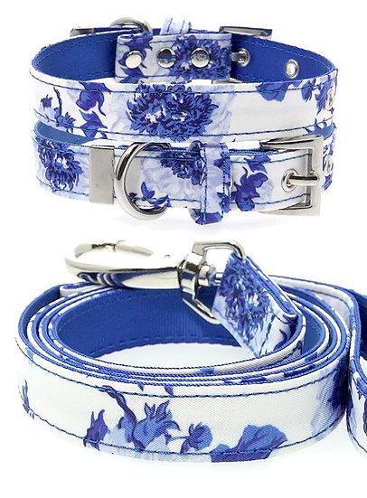 Blue Floral Bouquet Fabric Collar & Lead Set