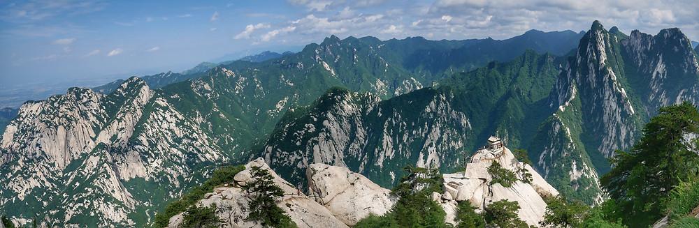 Panorama of Mountain Hua from East Peak(2096.2m)