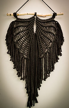 Black Macrame Angel Wings, birch branch, Cotton