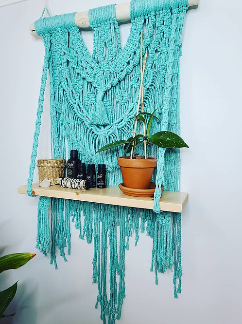 Turquoise Macrame Shelf