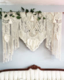 Macrame Wedding Backdrop, Free Spirit Designs, Vintage Couch, Pothos