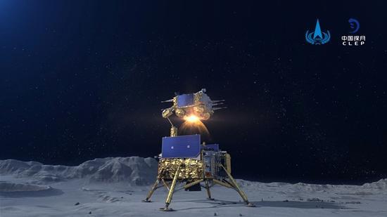 图为嫦娥五号上升器点火起飞模拟图。 (图片来源:中新社)