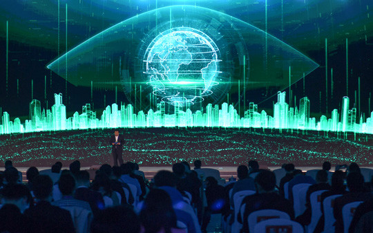 图为360全息星图网络空间测绘系统在乌镇亮相。(图片来源:中新社)