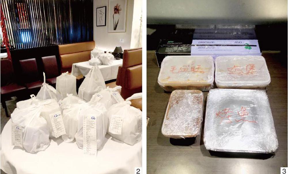 图2为伦敦唐人街川菜馆峨嵋一派在店内打包好的团购外卖订单。图3为峨嵋一派用特质外卖盒包装好并用保鲜膜层层包裹的菜品。(图片来源:受访者供图)