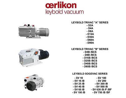 Oerlikon Leybold D2 D4 D8 D16 D25 D30 D40 D65 SV 10 25 40 65 100 180 200 300 500 630 750