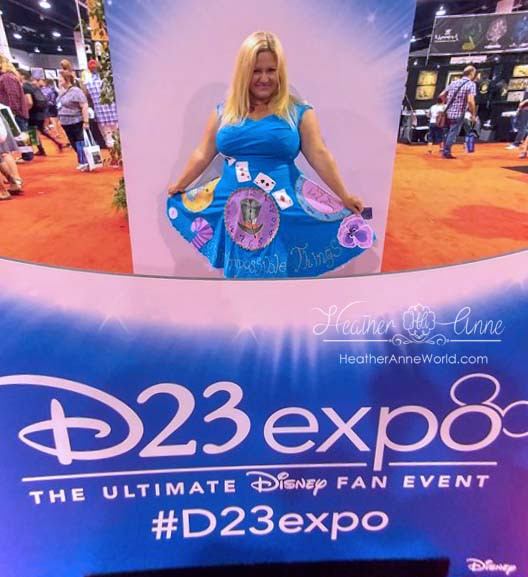 Heather Anne in hand painted Alice in Wonderland D23 Disney Expo 2017