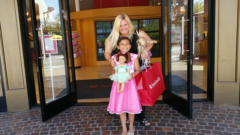 My daughter and I at American Girl Store in Los Angeles