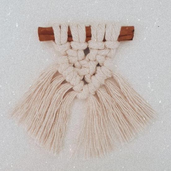 Mini Cinnamon Macrame Decorations x4