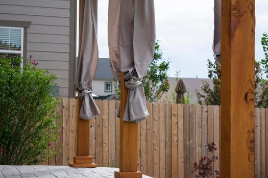 Pergolas, concrete stamped, curtain, sod, planting, irrigation.