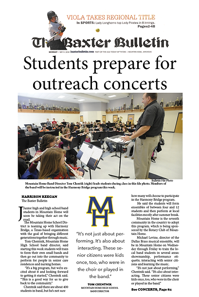 The Baxter Bulletin, Students prepare for outreach concerts