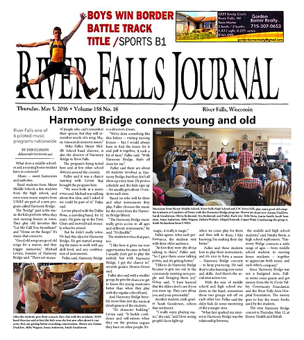River Fall Journal, Harmony Bridge connects young and old