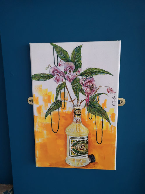 Pink Flowers in a Limoncello Bottle