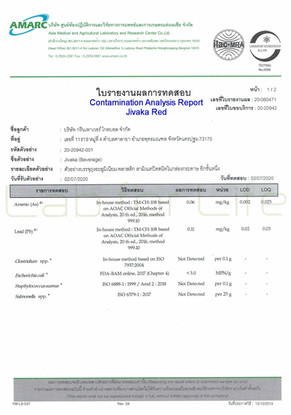 Contamination analysis report Jivaka bev