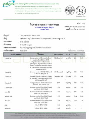 Nutritional Report from Jivaka beverage*1