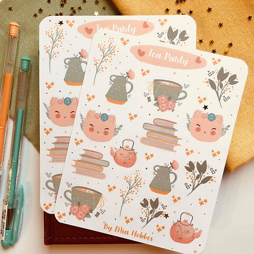 Tea Party, Tea Time Stickers, Tea Cups, Floral Illustrations, Illustrated Sticke