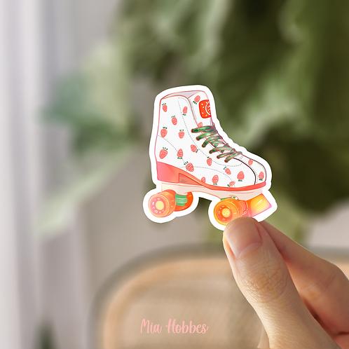 Strawberry Roller Skate Vinyl Sticker