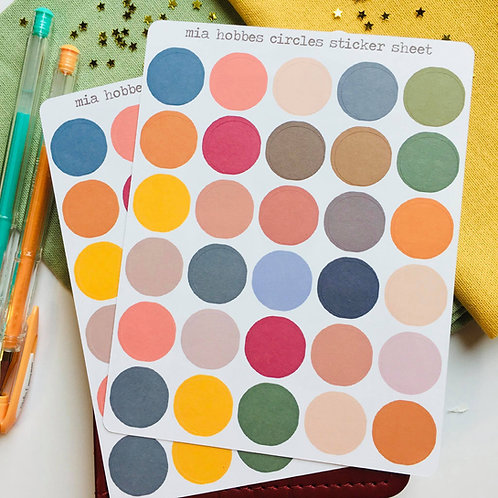 Colorful Circles Sticker sheet, Colorful Circles Bullet Journaling Stickers, Sti