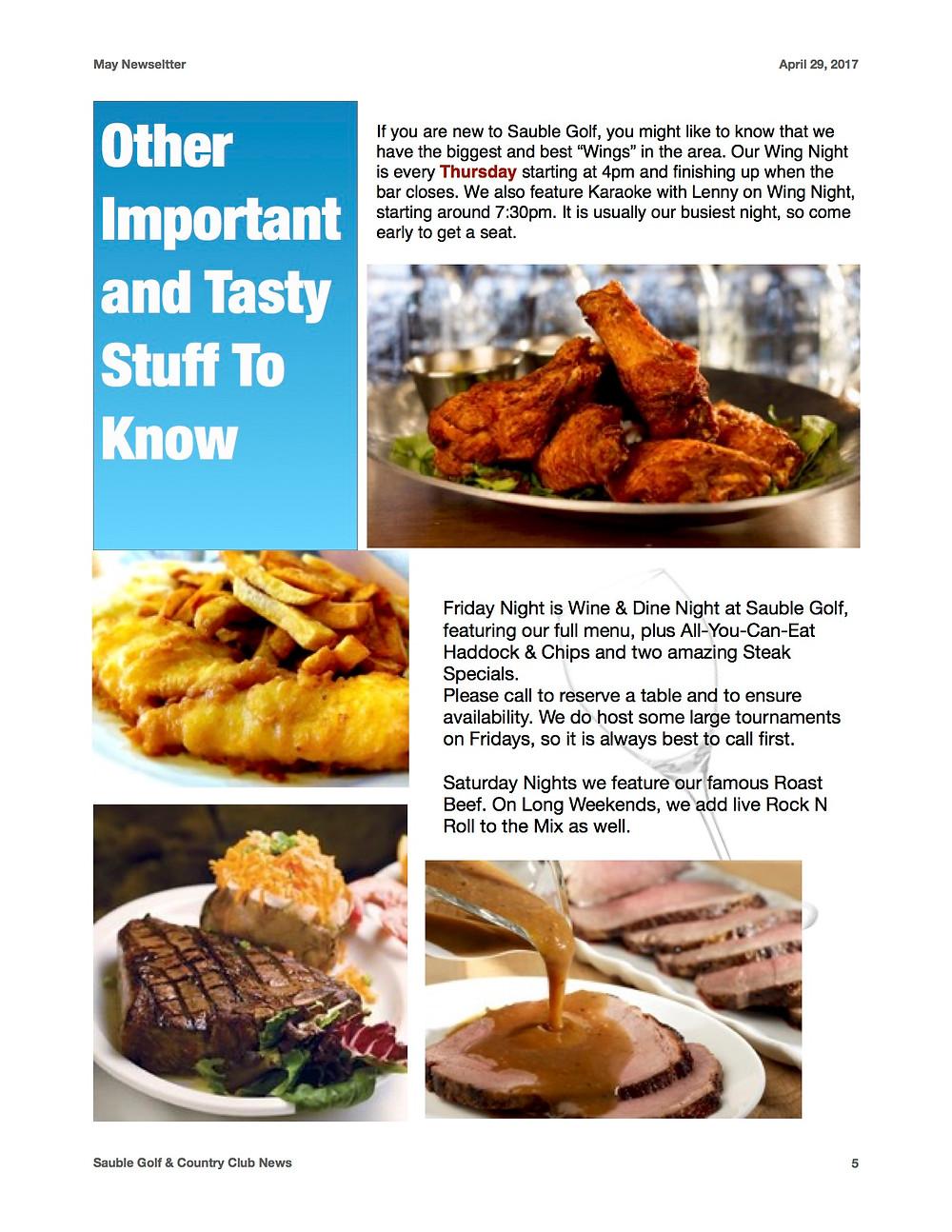 Specialties of the House: Wings, Fish & Chips, Steak, Roast Beef