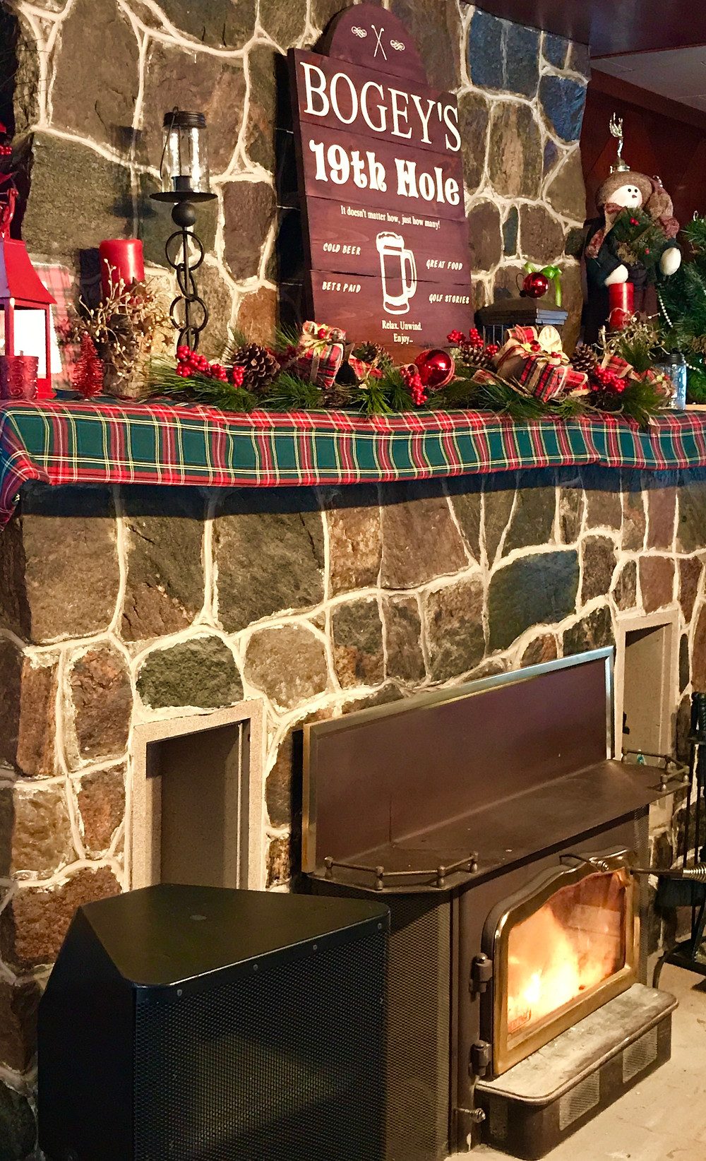 The Fireplace in Bogey's Pub & Eatery