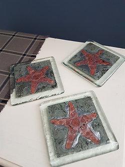 Handcrafted Starfish Glass Coasters