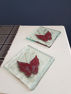 Handcrafted Butterfly Glass Coasters