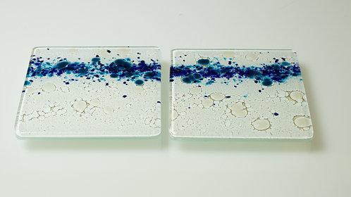 Handmade Glass Coasters (Blue 1)