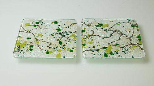 Handmade Glass Coasters (Green 1)