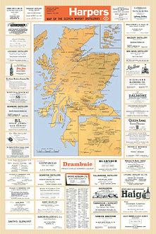 Harper's Scotch Whisky Distillery Map, circa 1960