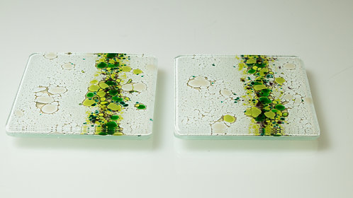 Handmade Glass Coaster's (Green 4)