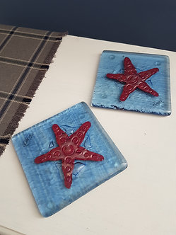 Handcrafted Starfish Glass Coasters