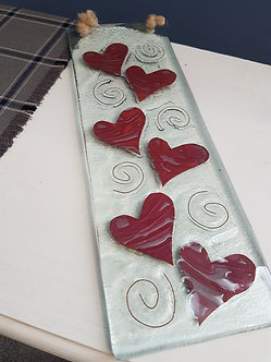 Handcrafted Love Heart Glass Hanging