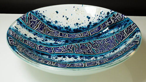 Interactions - Round Kiln Formed Fused Glass Bowl