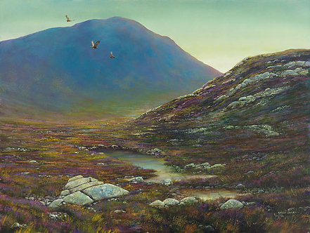 Flight of The Grouse in Sunset