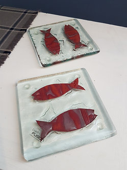 Handcrafted Fish Glass Coasters