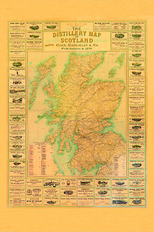 The 1902 Distillery Map of Scotland - Sepia Edition, Large Size