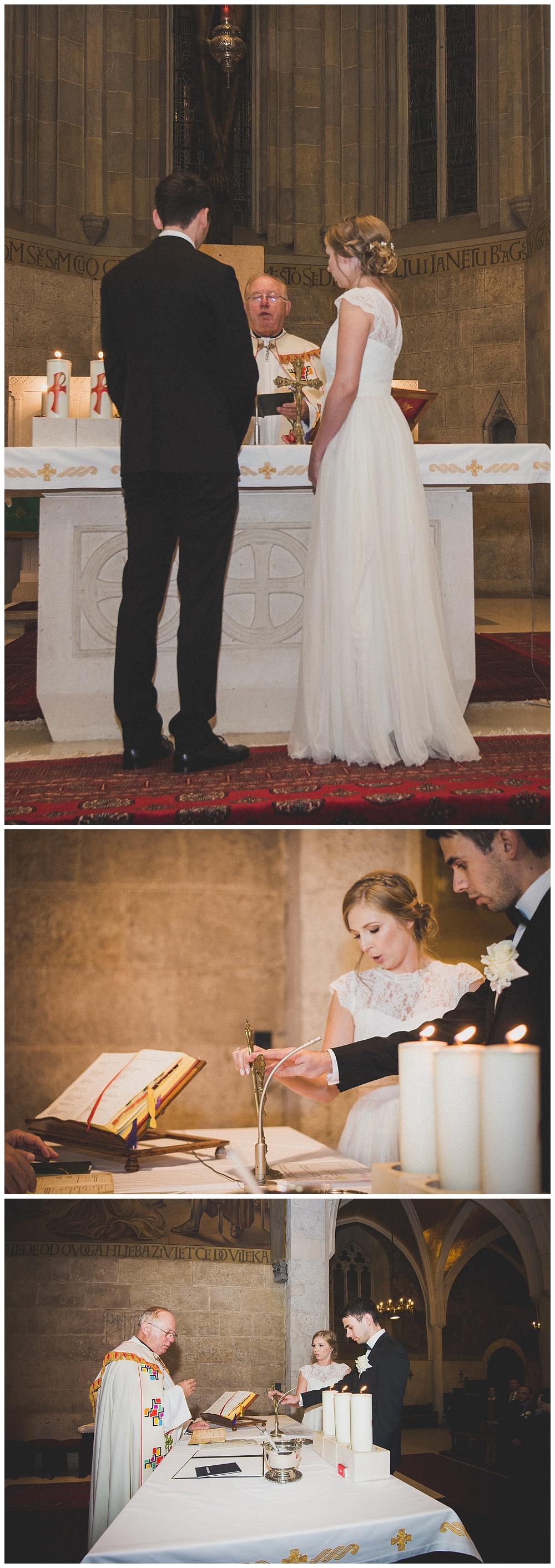 Paljenje svijeće u crkvi, vjenčanje u Zagrebu