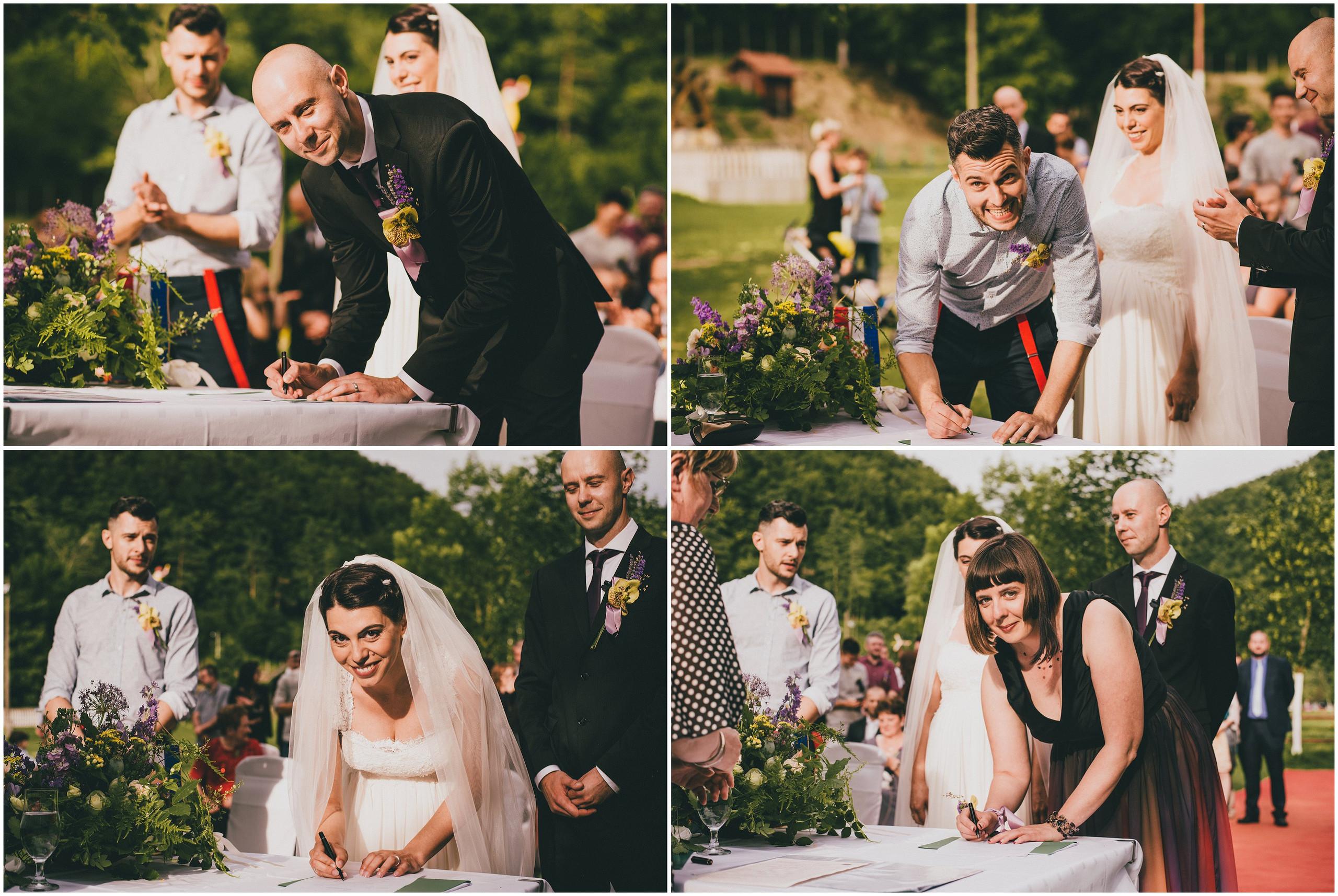 Potpisivanje mladenaca i kumova, vjenčanje na otvorenom